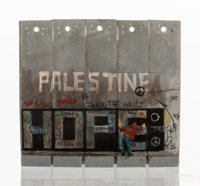 Banksy X The Walled Off Hotel Souvenir Wall Section, 2017 Painted cast resin 3-1/2 x 3-7/8 x 1 inches (8.9 x 9.8 x 2