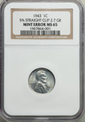 Errors, 1943 1C Lincoln Cent -- 5% Straight Clip -- MS65 NGC. 2.7 Grams....