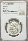 1935/34-D 50C Boone MS67 NGC. NGC Census: (47/6). PCGS Population: (70/8). CDN: $1,150 Whsle. Bid for problem-free NGC/P...