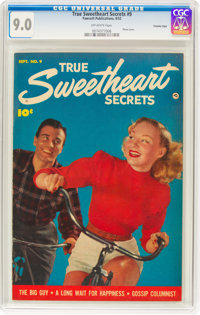 True Sweetheart Secrets #9 Crowley Copy Pedigree (Fawcett Publications, 1952) CGC VF/NM 9.0 Off-white pages