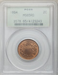 1864 2C Large Motto MS65 Red PCGS. PCGS Population: (278/70). NGC Census: (116/42). MS65. Mintage 19,847,500