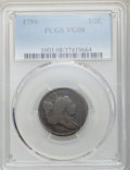 1794 1/2 C VG8 PCGS. PCGS Population: (19/374). NGC Census: (0/0). CDN: $800 Whsle. Bid for problem-free NGC/PCGS VG8...