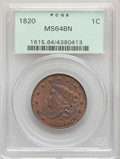 Large Cents, 1820 1C Large Date MS64 Brown PCGS. PCGS Population: (241/180). NGC Census: (164/174). CDN: $1,025 Whsle. Bid for problem-f...
