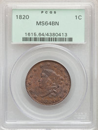 1820 1C Large Date MS64 Brown PCGS. PCGS Population: (241/180). NGC Census: (164/174). CDN: $1,025 Whsle. Bid for proble...