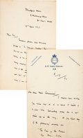 Books:Mystery & Detective Fiction, Fergus Hume. Three Autograph Letters, Signed. [Lon...