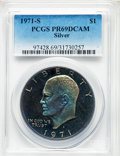 Proof Eisenhower Dollars, 1971-S $1 Silver PR69 Deep Cameo PCGS. PCGS Population:(32979/176). NGC Census: (1091/0). CDN: $20 Whsle. Bid forproblem-...