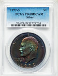 Proof Eisenhower Dollars, 1972-S $1 Silver PR68 Deep Cameo PCGS. PCGS Population:(1323/24401). NGC Census: (759/1142). CDN: $18 Whsle. Bid forprobl...