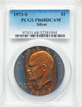 Proof Eisenhower Dollars, 1973-S $1 Silver PR68 Deep Cameo PCGS. PCGS Population:(1365/25144). NGC Census: (469/746). CDN: $28 Whsle. Bid forproble...