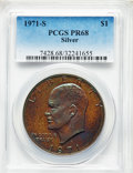 Proof Eisenhower Dollars, 1971-S $1 SILVER PR68 PCGS. PCGS Population: (143/51). NGC Census:(40/52). Mintage 4,265,234. ...