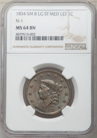 1834 1C Small 8, Large Stars, Medium Letters, N-1, R.1, MS64 Brown NGC. NGC Census: (3/2). PCGS Population: (2/1). MS64...