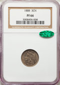 A Three-Piece Lot of Three Cent Nickels PR66 NGC. CAC. The lot includes: 1883; 1884; 1888. Two of the three coins are ho...
