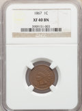 Indian Cents: , 1867 1C XF40 NGC. NGC Census: (47/516). PCGS Population: (80/650). CDN: $150 Whsle. Bid for problem-free NGC/PCGS XF40. Min...