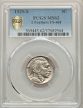 Buffalo Nickels, 1929-S 5C Two Feathers, FS-401, MS62 PCGS. PCGS Population: (1/5 and 0/0+). NGC Census: (0/0 and 0/0+). MS62. Mintage 7,754...