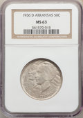 1936-D 50C Arkansas MS63 NGC. NGC Census: (90/861). PCGS Population: (282/1388). CDN: $85 Whsle. Bid for problem-free NG...