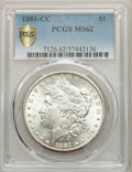 Morgan Dollars, 1881-CC $1 MS62 PCGS Gold Shield. PCGS Population: (1492/20284 and 13/1080+). NGC Census: (923/9686 and 9/308+). CDN: $410 ...