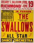 Music Memorabilia:Posters, The Swallows 1953 Boxing-Style Jumbo Globe Concert Poster.. ...