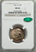 1941-D 25C MS66 NGC. CAC. NGC Census: (479/130). PCGS Population: (460/59). CDN: $85 Whsle. Bid for problem-free NGC/PCG...