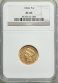 Three Dollar Gold Pieces: , 1874 $3 XF45 NGC. NGC Census: (109/2767). PCGS Population: (169/2301). XF45. Mintage 41,800. ...