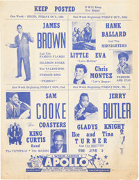 James Brown/Sam Cooke Apollo Multi-Show Double-Sided Concert Handbill (1962)