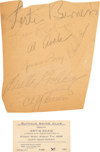 Billie Holiday 1930's Large Autograph and Concert Ticket