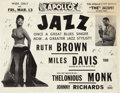 Music Memorabilia:Posters, Ruth Brown/Miles Davis/Thelonious Monk Double-Sided Apollo...