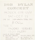 Music Memorabilia:Posters, Bob Dylan & The Hawks 1965 Concert Flyer on the Highway 61 Revisited Tour.. ...