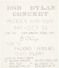Bob Dylan & The Hawks 1965 Concert Flyer on the Highway 61 Revisited Tour
