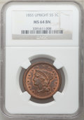 Large Cents, 1855 1C Upright 55, N-4, Early Die State, R.3, MS64 Brown NGC. NGC Census: (2/2). PCGS Population: (1/3). MS64. Mintage 1,5...
