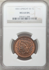 1855 1C Upright 55, N-4, Early Die State, R.3, MS64 Brown NGC. NGC Census: (2/2). PCGS Population: (1/3). MS64. Mintage...