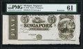 Obsoletes By State:Michigan, Singapore, MI- Bank of Singapore $5 18__ G8 Remainder PMG Uncirculated 61.. ...