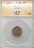 Indian Cents: , 1873 1C Open 3 MS63 Brown ANACS. CDN: $315 Whsle. Bid forproblem-free NGC/PCGS MS63. Mintage 11,676,500. ...