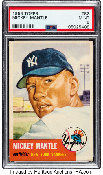 1953 Topps Mickey Mantle 82 Psa Mint 9 Baseball Cards
