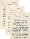 Books:Mystery & Detective Fiction, Freeman Wills Crofts. Three Typed Letters, Signed....