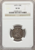 1875-S 20C VF35 NGC. NGC Census: (96/2589). PCGS Population: (223/3551). VF35. Mintage 1,155,000