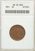 Half Cents: , 1851 1/2 C MS60 Brown ANACS. CDN: $175 Whsle. Bid for problem-free NGC/PCGS MS60. Mintage 147,672. ...