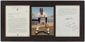 Autographs:Letters, 1993 Lou Piniella Twice-Signed Display with Photograph &Arbitration Letter....