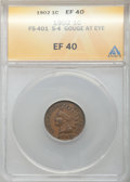 Indian Cents, 1902 1C Die Gouge, Snow-4, FS-401, XF40 ANACS. Mintage 87,376,720. ...