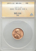 Lincoln Cents, 1971 1C Doubled Die Obverse, FS-101 MS64 Red and Brown ANACS.Die-1....