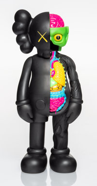 KAWS (American, b. 1974) Dissected Companion (Black), 2006 Painted cast vinyl 14-3/4 x 6-1/4 x 3-
