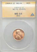 Lincoln Cents, 1969-D 1C No FG, FS-901, MS64 Red ANACS. ...