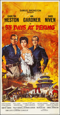 "55 Days at Peking (Allied Artists, 1963). Folded, Very Fine. Three Sheet (41"" X 79""). Howard Terpning Artwork..."