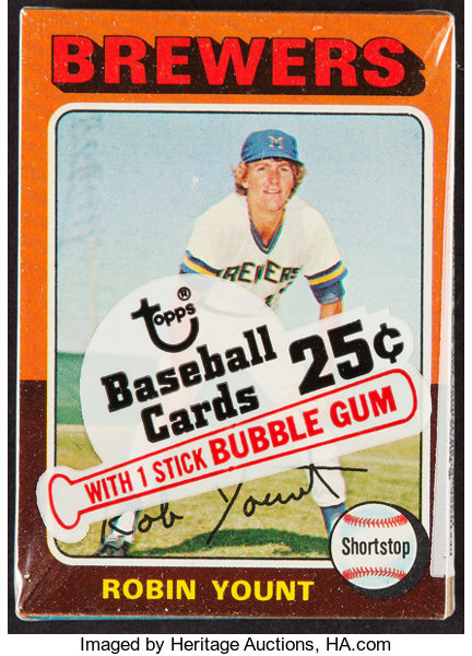 1975 Topps Cello Pack With Robin Yount On Top Offered Is A