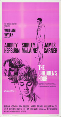 "The Children's Hour (United Artists, 1962). Folded, Very Fine+. Three Sheet (41"" X 70""). Drama"