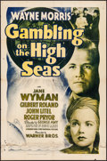 "Movie Posters:Drama, Gambling on the High Seas (Warner Brothers, 1940). Folded, Fine+.One Sheet (27"" X 41""), Title Lobby Card & Lobby Cards (2) ...(Total: 4 Items)"