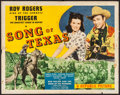 "Movie Posters:Western, Song of Texas (Republic, 1943). Folded, Fine+. Half Sheet (22"" X28"") Style B. Western.. ..."