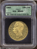 Italy: , Italy: Umberto I gold 100 Lire 1883, KM22, MS62 ICG, fully lustrousand a rare type....