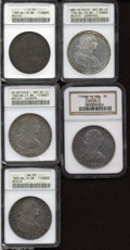 Mexico: , Mexico: Lot of Five Bust 8 Reales, 1789MoFM Charles III F15 ANACS;1789MoFM Charles IV XF45 NGC; 1794 MoFM Net MS60 ANACS; 1802MoFT... (Total: 5 Coins Item)