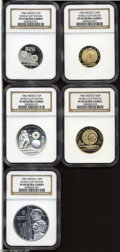 Mexico: , Mexico: Lot of World Cup Soccer Coins, 3 silver and 2 gold, all areultra cameo: 25 Pesos 1985 PF 67 NGC, (holder marked 1986), 50 ...(Total: 5 Coins Item)