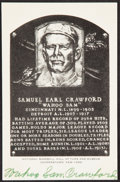 "Autographs:Post Cards, 1965 ""Wahoo"" Sam Crawford Twice-Signed Hall of Fame Plaque Postcard...."