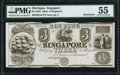 Obsoletes By State:Michigan, Singapore, MI- Bank of Singapore $3 18__ G6 Remainder PMG About Uncirculated 55.. ...